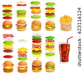 set of tasty burgers grilled... | Shutterstock .eps vector #623116124