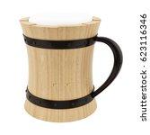 3d rendering of a wooden beer...   Shutterstock . vector #623116346