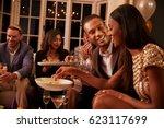 group of friends enjoying...   Shutterstock . vector #623117699