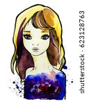 watercolor graphic illustration ... | Shutterstock . vector #623128763