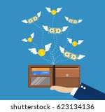 dollars and coins with wings... | Shutterstock .eps vector #623134136
