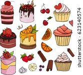 a set of sweet desserts.... | Shutterstock .eps vector #623140574