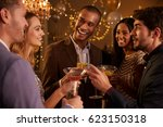 group of friends with drinks... | Shutterstock . vector #623150318