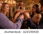 group of friends with drinks... | Shutterstock . vector #623150420