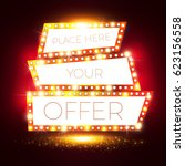 mega bonus. retro shining... | Shutterstock .eps vector #623156558
