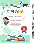 vector template kids diploma at ... | Shutterstock .eps vector #623161790