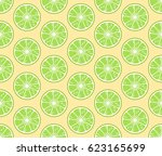 round lime slices  seamless... | Shutterstock .eps vector #623165699