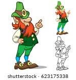 funny cartoon leprechaun.... | Shutterstock .eps vector #623175338