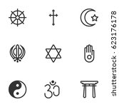 religion symbol icon set on... | Shutterstock .eps vector #623176178