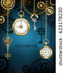 design with gold antique clocks ... | Shutterstock .eps vector #623178230
