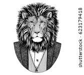 wild lion hipster animal hand... | Shutterstock . vector #623179418
