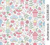 vector doodle seamless pattern...   Shutterstock .eps vector #623188130