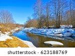 spring forest river landscape | Shutterstock . vector #623188769