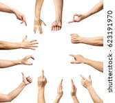 male hand gesture and sign... | Shutterstock . vector #623191970