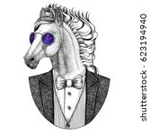 Stock photo horse hoss knight steed courser hipster animal hand drawn illustration for tattoo emblem 623194940
