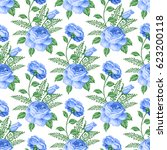 seamless pattern with roses and ... | Shutterstock .eps vector #623200118