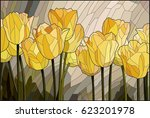 stained glass yellow tulips | Shutterstock .eps vector #623201978