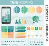 travel infographic.... | Shutterstock .eps vector #623202578