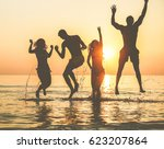 silhouettes of happy friends... | Shutterstock . vector #623207864