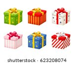 vector set of colorful gift... | Shutterstock .eps vector #623208074