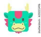 cute round dragon face zodiac... | Shutterstock .eps vector #623221496