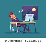 exhausted businessman fell... | Shutterstock .eps vector #623225783