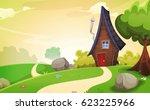 house inside spring landscape ... | Shutterstock .eps vector #623225966