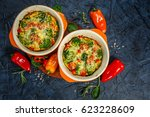 frittata with broccoli  spinach ... | Shutterstock . vector #623228609