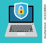 laptop with shield and lock on...   Shutterstock .eps vector #623228804