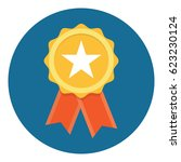 gold star quality badge with... | Shutterstock .eps vector #623230124