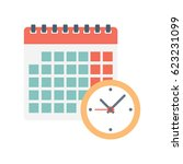 calendar and clock icon.... | Shutterstock .eps vector #623231099