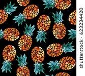 seamless pineapple graphic | Shutterstock . vector #623234420