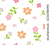 cute flowers pattern with white ... | Shutterstock .eps vector #623248490