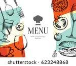 restaurant menu design. vector... | Shutterstock .eps vector #623248868