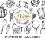restaurant menu design. vector... | Shutterstock .eps vector #623248898