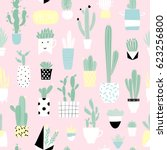 cute summer theme cactus.... | Shutterstock .eps vector #623256800