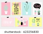 cute summer cards  posters set... | Shutterstock .eps vector #623256830