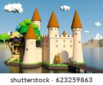 cartoon medieval castle on... | Shutterstock . vector #623259863