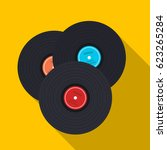 vinyl records icon in flat... | Shutterstock .eps vector #623265284