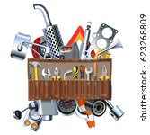 vector tool kit with car spares | Shutterstock .eps vector #623268809