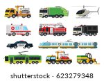 municipal transport set with... | Shutterstock .eps vector #623279348