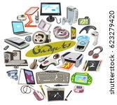 colored sketch electronic...   Shutterstock .eps vector #623279420