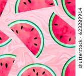 fruity seamless pattern with... | Shutterstock . vector #623289914