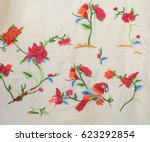 blue embroidered  flowers  bird ... | Shutterstock . vector #623292854