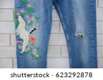 blue embroidered  flowers  bird ... | Shutterstock . vector #623292878