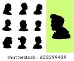 set of profile silhouettes | Shutterstock .eps vector #623299439