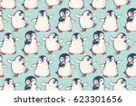 seamless pattern with cute... | Shutterstock .eps vector #623301656