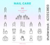 nail care outline icon set of... | Shutterstock .eps vector #623313803