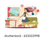 girl housekeeper cleans... | Shutterstock .eps vector #623322998