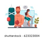 man and woman training in gym | Shutterstock .eps vector #623323004